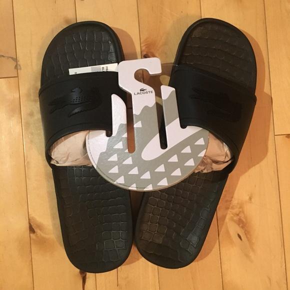 a38f459ec Lacoste Men s Big Croc Slides Sandals Black New